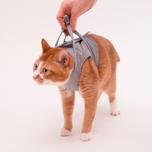 猫に優しいベスト型ハーネス・リード付き ダンガリー